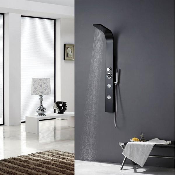colonne de douche baln o en aluminium noir 130x13cm a132. Black Bedroom Furniture Sets. Home Design Ideas