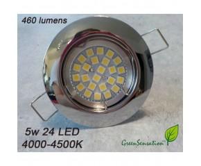 spot Chromé à encastrer à LED GU10 5w Blanc neutre 4500k  220v