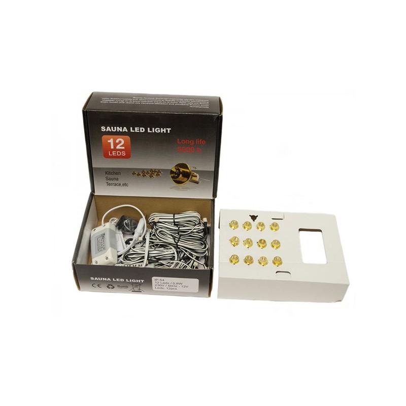 kit clairage pour sauna 12 led encastrer. Black Bedroom Furniture Sets. Home Design Ideas