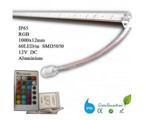 Réglette à LED couleurs 1 m RGB avec télécommande waterproof IP65